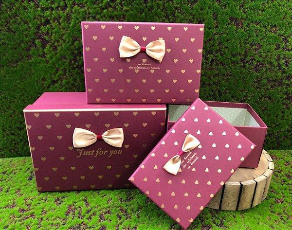 Kit Caixa Rígida Just For You Vinho c/ Laço- 03 Unidades - Rizzo Embalagens