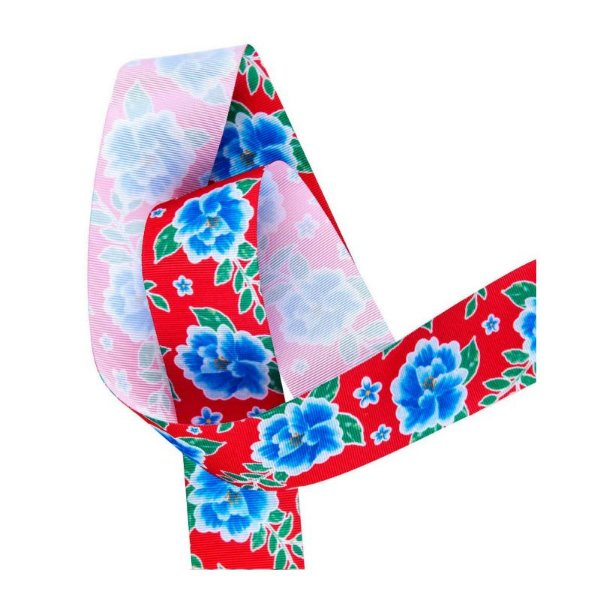 Fita de Gorgurão Chita Vermelho Flor Azul 38mm - 10 metros - Progresso - Rizzo Embalagens