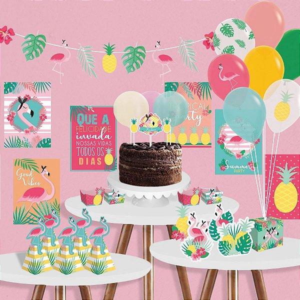 Kit Festa Tropical Flamingo Cromus - Rizzo Festas