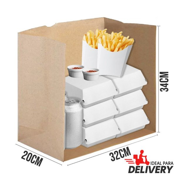 Saco Delivery Kraft - 32x20x34cm - 10 unidades - Ref 5539 - Rizzo Embalagens