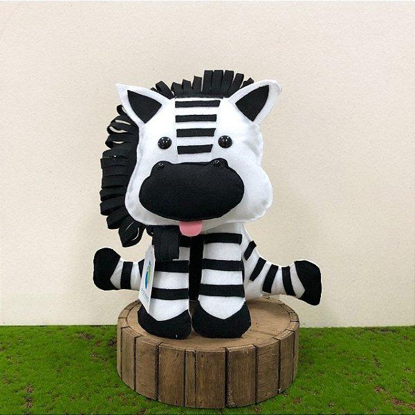 Zebra do Safári em Feltro - 01 Unidade - Pé de Pano - Rizzo Festas
