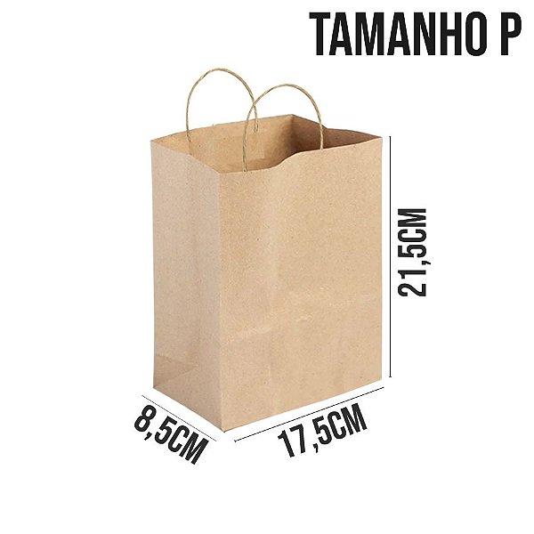 Sacola de Papel Kraft - Tamanho P 17,5x8,5x21,5cm - Ref. 0022- Rizzo Embalagens