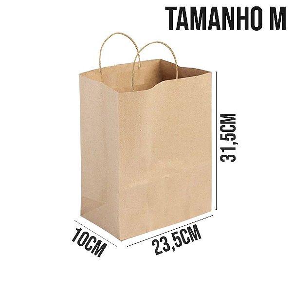 Sacola de Papel Kraft - Tamanho M 23,5x10x31,5cm - Ref. 0046 - Rizzo Embalagens