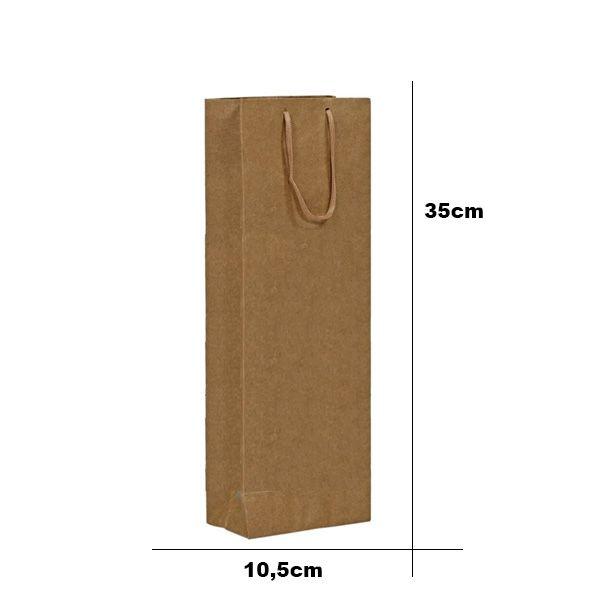 Sacola de Papel Com Alça de Cordão N°9 - 10,5x35x11cm - 10 Unidades - Rizzo Embalagens