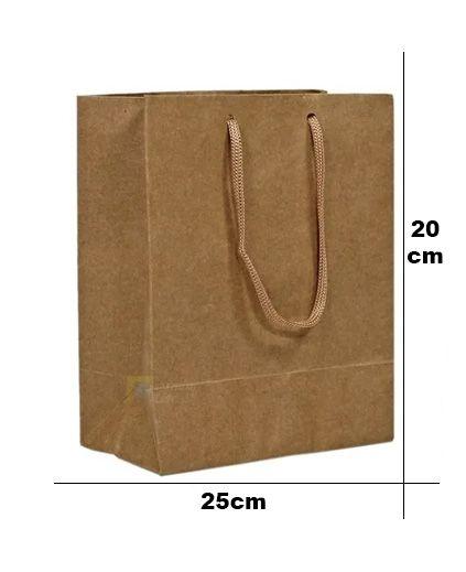 Sacola de Papel Com Alça de Cordão N°7 - 25x20x8cm - 10 Unidades - Rizzo Embalagens