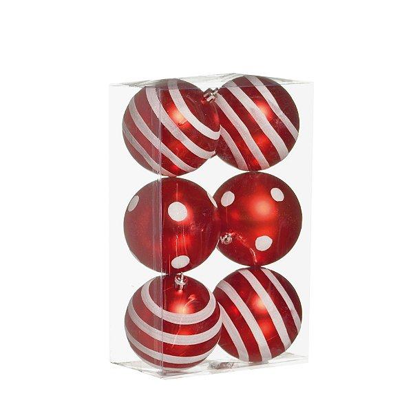 Kit Bolas Texturizadas Vermelho/Branco 8cm - 06 unidades - Cromus Natal - Rizzo Embalagens