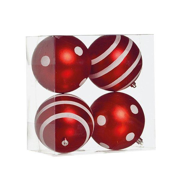 Kit Bolas Texturizadas Vermelho/Branco 10cm - 04 unidades - Cromus Natal - Rizzo Embalagens