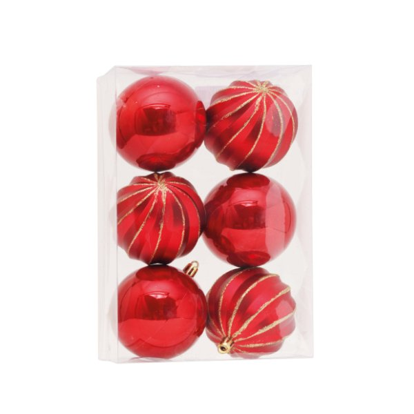 Kit Bolas Texturizadas Vermelho/Dourado 8cm - 06 unidades - Cromus Natal - Rizzo Embalagens