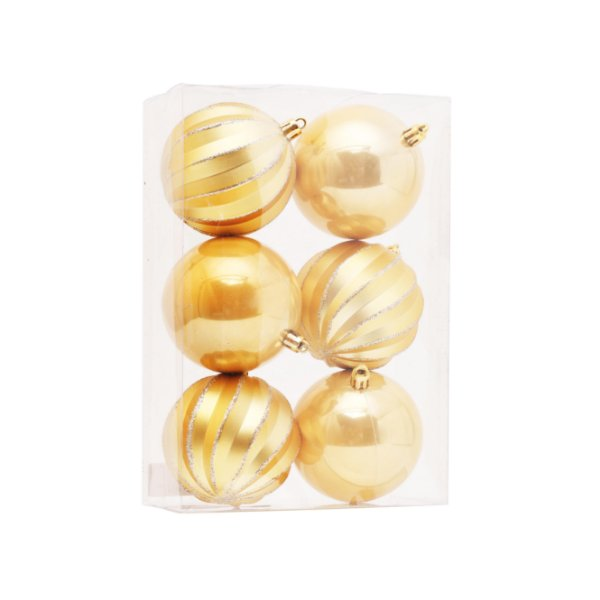 Kit Bolas Texturizadas e Lisas Dourado 8cm - 06 unidades - Cromus Natal - Rizzo Embalagens