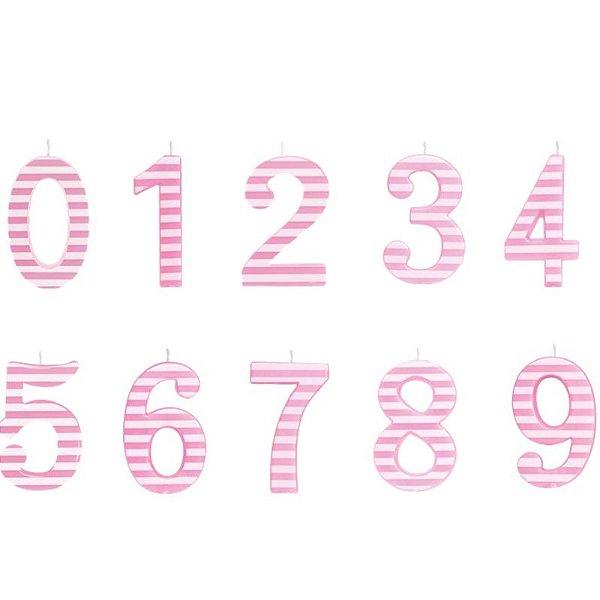 Vela de Aniversário Listrada Rosa G - 01 unidade - Cromus - Rizzo Festas