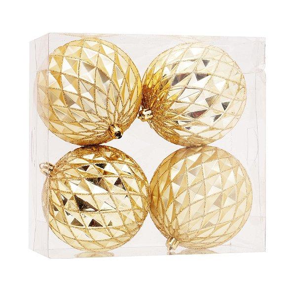 Kit Bolas Texturizadas Dourado 10cm - 04 unidades - Cromus Natal - Rizzo Embalagens