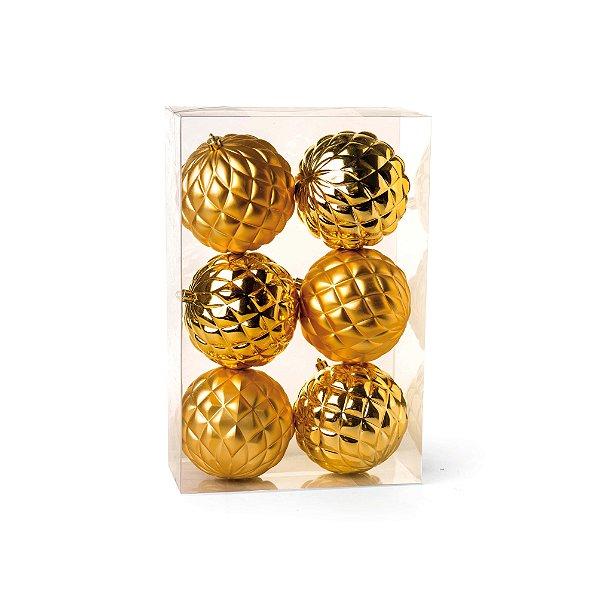 Kit Bolas Texturizadas Losango Dourado 10cm - 06 unidades - Cromus Natal - Rizzo Embalagens