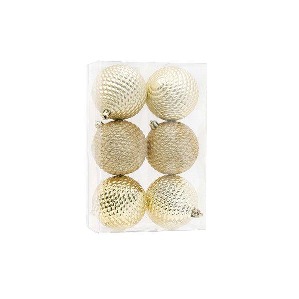 Kit Bolas Texturizadas Dourado 8cm - 06 unidades - Cromus Natal - Rizzo Embalagens