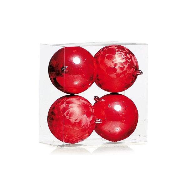 Kit Bolas Texturizado e Liso Vermelho 10cm - 04 unidades - Cromus Natal - Rizzo Embalagens