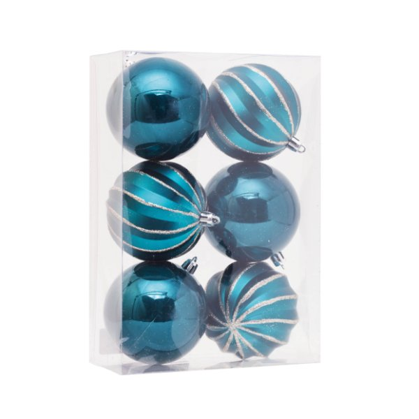 Kit Bolas Texturizado e Liso Azul 8cm - 06 unidades - Cromus Natal - Rizzo Embalagens