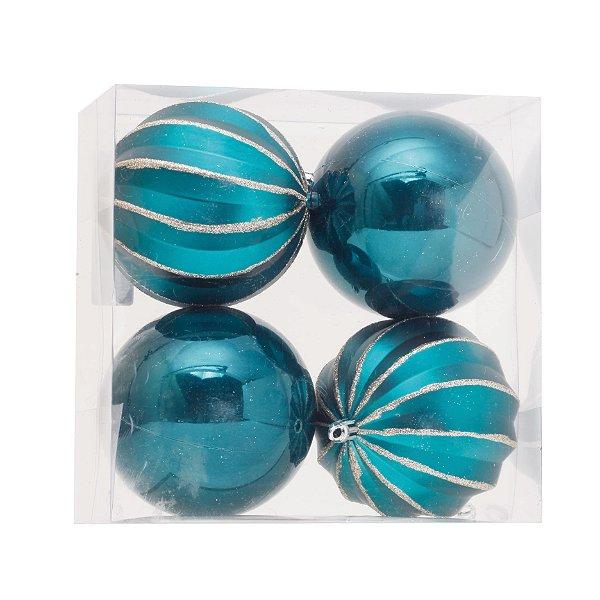Kit Bolas Texturizado e Liso Azul 10cm - 04 unidades - Cromus Natal - Rizzo Embalagens