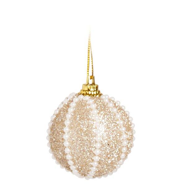 Kit Bola Glitter Branco/Dourado 5cm - 06 unidades - Cromus Natal - Rizzo Embalagens