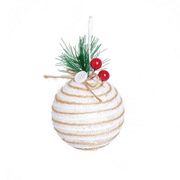 Kit Bola Natal Branco 8cm - 06 unidades - Cromus Natal - Rizzo Embalagens