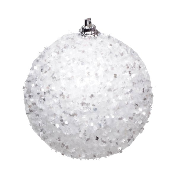 Kit Bola Nevada Glitter Branco 8cm - 06 unidades - Cromus Natal - Rizzo Embalagens