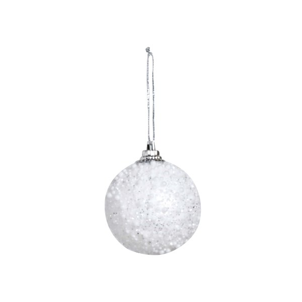 Kit Bola Nevada Glitter Branco 5cm - 06 unidades - Cromus Natal - Rizzo Embalagens