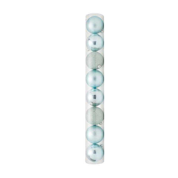 Bolas em Tubo Mint 8cm - 08 unidades - Cromus Natal - Rizzo Embalagens