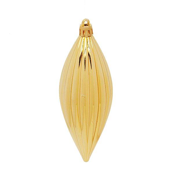 Enfeite para Pendurar Pino Dourado 13cm - 04 unidades - Cromus - Rizzo Embalagens