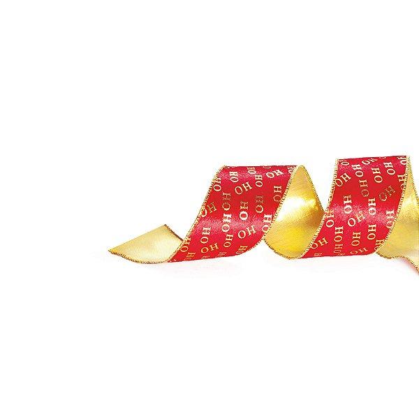 Fita HOHOHO Vermelho/Ouro 3,8cm - 01 unidade 9,14m - Cromus Natal - Rizzo Embalagens