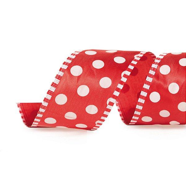 Fita Bolas Vermelho/Branco 6,3cm - 01 unidade 9,14m - Cromus Natal - Rizzo Embalagens