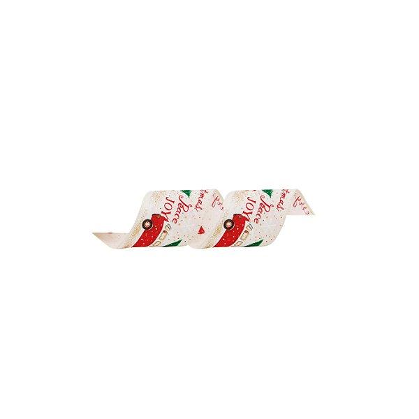 Fita Paz & Alegria Nude/Vermelho 6,3cm - 01 unidade 9,14m - Cromus Natal - Rizzo Embalagens