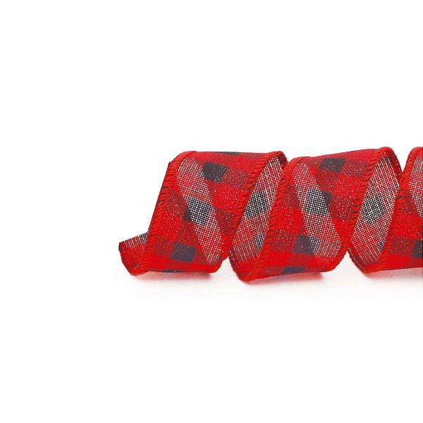 Fita Xadrez Vermelho/Preto 3,8cm - 01 unidade 9,14m - Cromus Natal - Rizzo Embalagens