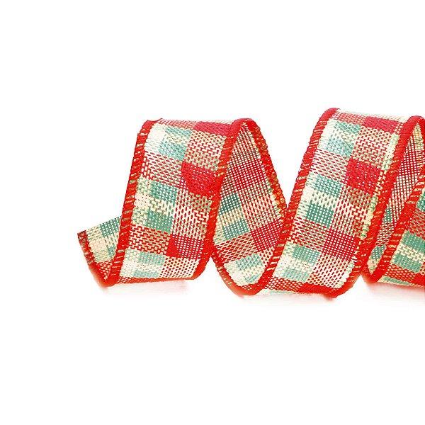 Fita Xadrez Vermelho/Verde 3,8cm - 01 unidade 9,14m - Cromus Natal - Rizzo Embalagens