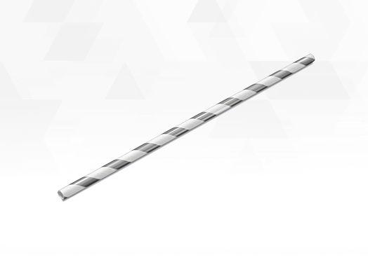 Canudo de Papel Listras Metalizado Branco e Prateado - 15 unidades - Silver Festas - Rizzo Festas