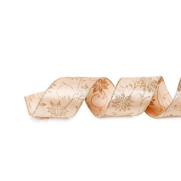 Fita Folhas Rose Gold 3,8cm - 01 unidade 9,14m - Cromus Natal - Rizzo Embalagens