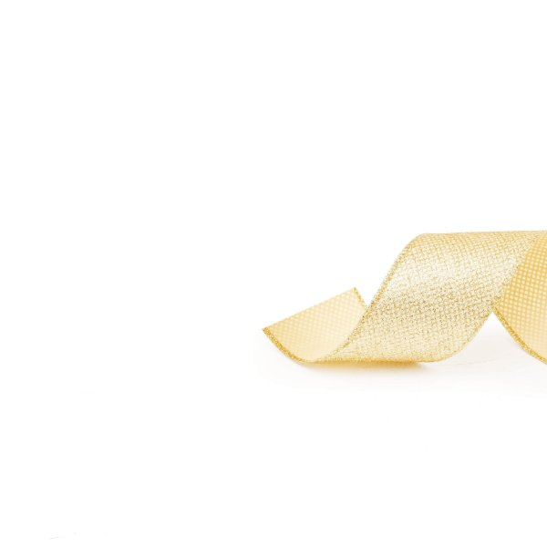 Fita Glitter Marfim Ouro 6,3cm - 01 unidade 9,14m - Cromus Natal - Rizzo Embalagens