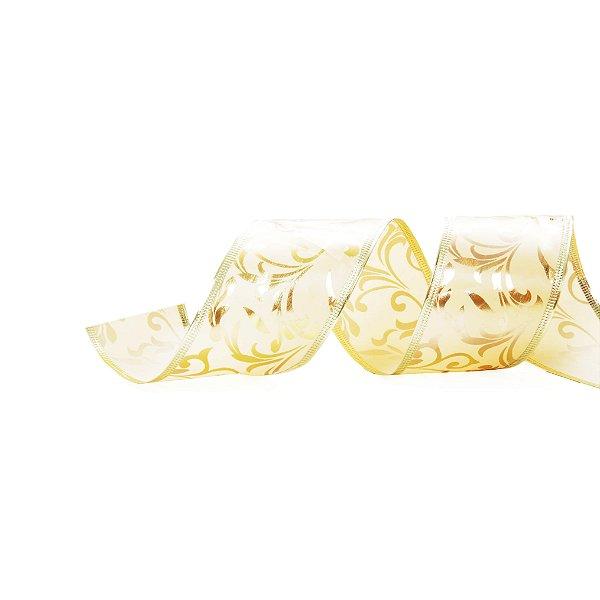 Fita Folhas Marfim Ouro 6,3cm - 01 unidade 9,14m - Cromus Natal - Rizzo Embalagens