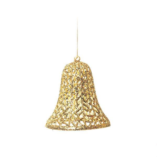 Enfeite para Pendurar Sino Ouro Tam G 15cm - 01 unidades - Cromus Natal - Rizzo Embalagens