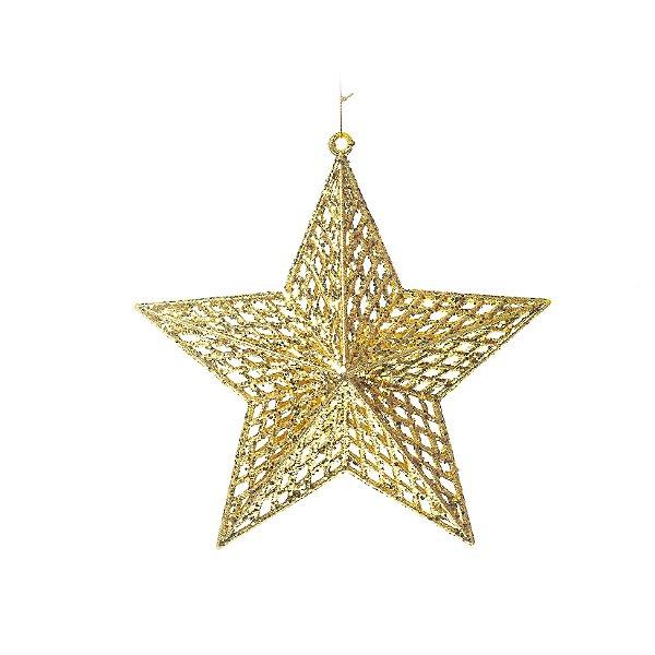 Enfeite para Pendurar Estrela Ouro Tam G 22cm - 01 unidade - Cromus Natal - Rizzo Embalagens