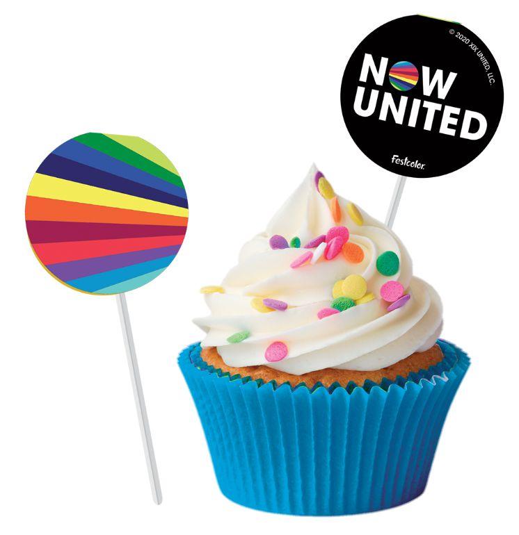 Bandeirinha para Docinho Festa Now United - 08 Unidades - Festcolor - Rizzo Festas