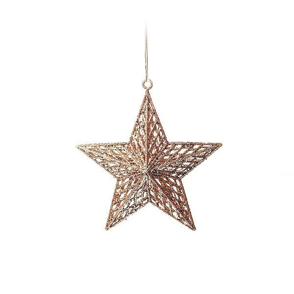 Enfeite para Pendurar Estrela Rose Gold Tam P 20cm - 01 unidade - Cromus Natal - Rizzo Embalagens