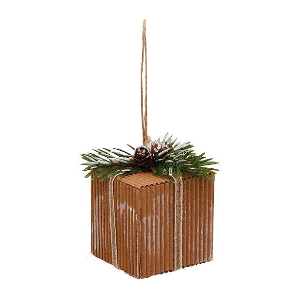 Enfeite para Pendurar Presente Rustico Nude 8cm - 01 unidade - Cromus Natal - Rizzo Embalagens