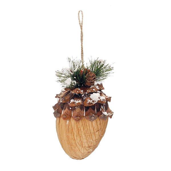 Enfeite para Pendurar Nozes 10cm - 01 unidade - Cromus Natal - Rizzo Embalagens