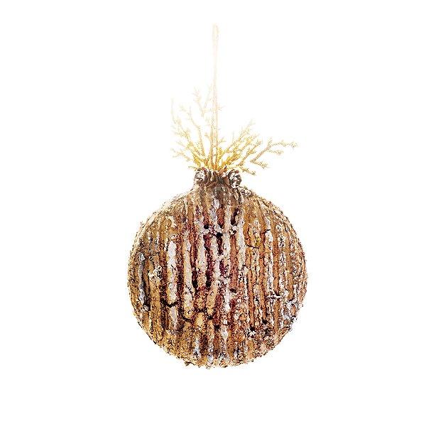 Enfeite para Pendurar Bola com Folhas Natural 10cm - 01 unidade - Cromus Natal - Rizzo Embalagens