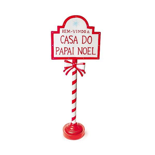 Poste de Placas Bem Vindo Casa Noel Natal 1,2m - 01 unidade - Cromus Natal - Rizzo Embalagens