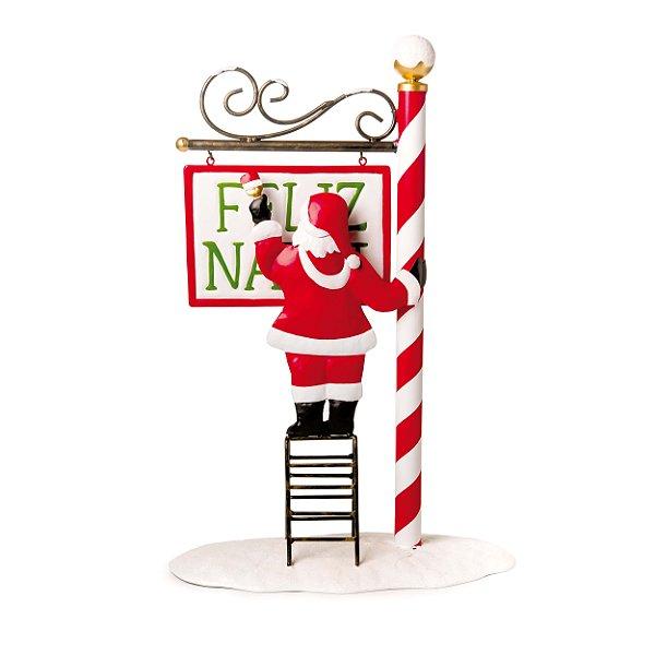Placa Noel na Escada Placa Feliz Natal 50cm - 01 unidade - Cromus Natal - Rizzo Embalagens