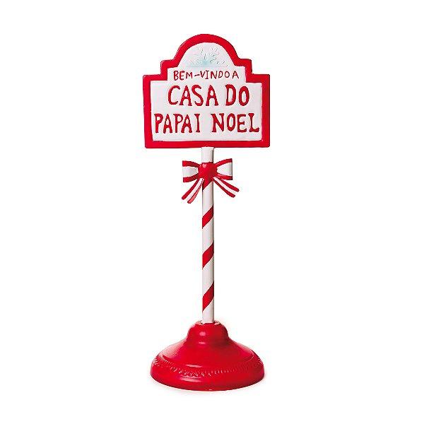 Poste de Placas Bem Vindo Casa Noel Natal 45cm - 01 unidade - Cromus Natal - Rizzo Embalagens