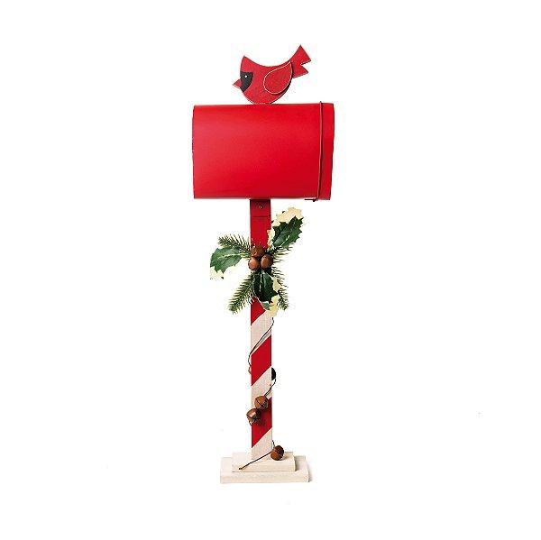Caixa de Correio Decorativa Pássaro Natal Vermelho 50cm - 01 unidade - Cromus Natal - Rizzo Embalagens