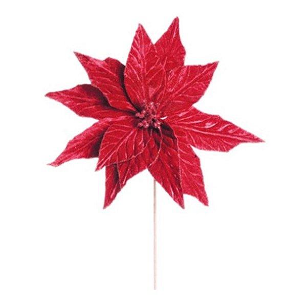 Flor de Natal Cabo Médio Poinsettia Vermelho - 01 unidade - Cromus Natal - Rizzo Embalagens