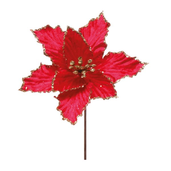 Flor de Natal Poinsettia Vermelho Cabo Curto - 01 unidade - Cromus Natal - Rizzo Embalagens