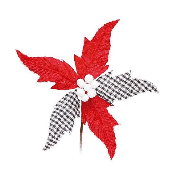 Flor de Natal Poinsettia Xadrez Preto/Branco/Vermelho Cabo Curto - 01 unidade - Cromus Natal - Rizzo Embalagens