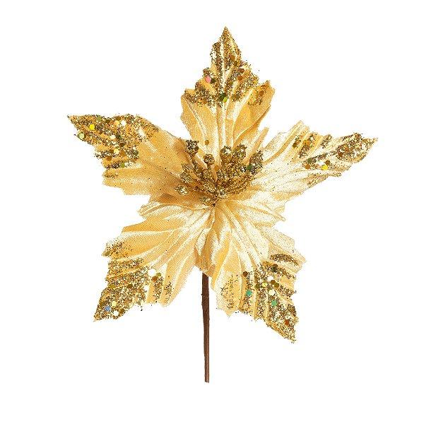 Flor de Natal Poinsettia Ouro Cabo Curto - 01 unidade - Cromus Natal - Rizzo Embalagens